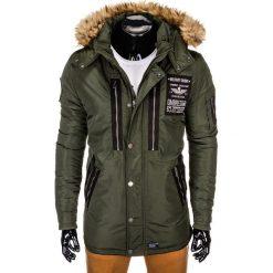 KURTKA MĘSKA ZIMOWA PARKA C360 - KHAKI. Brązowe kurtki męskie zimowe Ombre Clothing, m, z kapturem. Za 189,00 zł.
