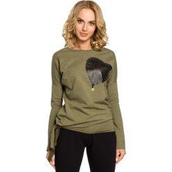 KENZIE Bluza ze skórzanym sercem - khaki. Zielone długie bluzy damskie Moe, s, z dresówki, z długim rękawem. Za 99,00 zł.