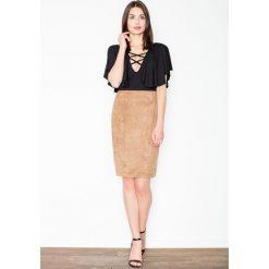 Spódniczki: Brązowa Ołówkowa Midi Spódnica z Imitacji Zamszu