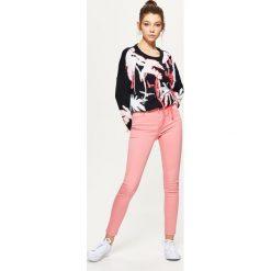 Rurki damskie: Spodnie high waist skinny – Różowy