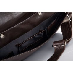 Skórzana męska torba, na laptop Solier REMI brązowa. Brązowe torby na ramię męskie marki Solier, w paski, ze skóry. Za 549,00 zł.