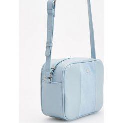 Torebki klasyczne damskie: Torebka z łączonych materiałów - Niebieski