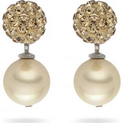 Kolczyki-wkrętki z perłami i cyrkoniami. Żółte kolczyki damskie Pearls Special, z cyrkonią, z mosiądzu. W wyprzedaży za 77,95 zł.