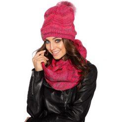 Komplet czapka pompon + komin lc102. Czerwone czapki zimowe damskie Lemoniade, na jesień. Za 99,00 zł.