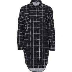 Długa bluzka z opuszczanymi ramionami bonprix czarno-biały w kratę. Białe bluzki asymetryczne bonprix, z nadrukiem, z długim rękawem. Za 49,99 zł.