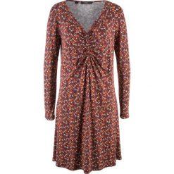 Sukienka z długim rękawem bonprix czerwony klonowy w kwiatki. Czerwone sukienki z falbanami marki bonprix, w kwiaty, z długim rękawem. Za 49,99 zł.