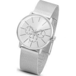 Zegarek na metalowej siatkowej bransoletce bonprix srebrny kolor. Szare zegarki damskie bonprix, metalowe. Za 89,99 zł.