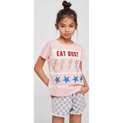 Mango Kids - Top dziecięcy Dust 110-164 cm. Szare bluzki dziewczęce Mango Kids, z aplikacjami, z bawełny, z okrągłym kołnierzem. Za 49,90 zł.
