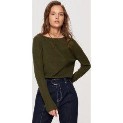Swetry damskie: Sweter z lekkiej dzianiny - Khaki