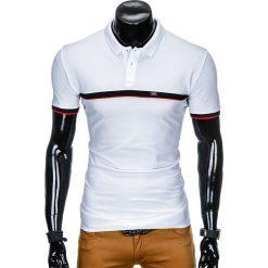 KOSZULKA MĘSKA POLO BEZ NADRUKU S881 - BIAŁA. Białe koszulki polo Ombre Clothing, m, z nadrukiem. Za 39,00 zł.