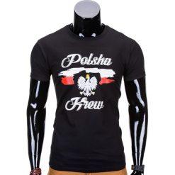 T-SHIRT MĘSKI Z NADRUKIEM S776 - CZARNY. Czarne t-shirty męskie z nadrukiem Ombre Clothing, m. Za 29,00 zł.