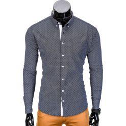 KOSZULA MĘSKA Z DŁUGIM RĘKAWEM K388 - GRAFITOWA. Brązowe koszule męskie na spinki marki Ombre Clothing, m, z aplikacjami, z kontrastowym kołnierzykiem, z długim rękawem. Za 49,00 zł.