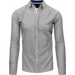 Koszule męskie na spinki: Biało-czarna koszula męska w paski (dx1495)