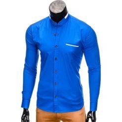KOSZULA MĘSKA Z DŁUGIM RĘKAWEM K303 - JASNOGRANATOWA. Brązowe koszule męskie na spinki marki Ombre Clothing, m, z aplikacjami, z kontrastowym kołnierzykiem, z długim rękawem. Za 39,99 zł.