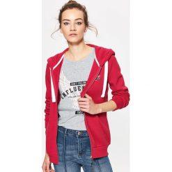 Bluzy rozpinane damskie: Rozpinana bluza z kapturem - Różowy