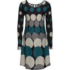 Długie sukienki: Sukienka dzianinowa w grochy bonprix czarno-niebieskozielono-ciemnoszaro-jasnoszary
