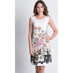 Sukienki balowe: Prosta biała sukienka z motywem kwiatów BIALCON