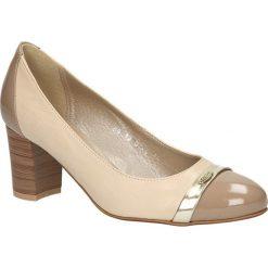 CZÓŁENKA KORDEL 483 BEŻ 0. Szare buty ślubne damskie Casu, na koturnie. Za 149,99 zł.