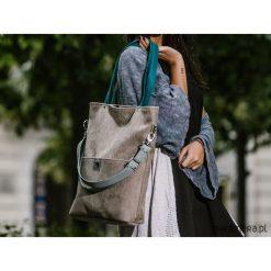 Duża szara zamszowa torba turkusowe miętowe pask. Niebieskie torebki klasyczne damskie Pakamera, z zamszu, duże, zamszowe. Za 151,00 zł.