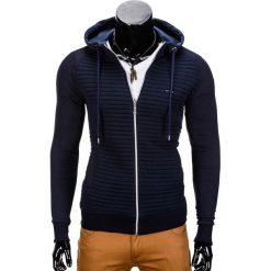 BLUZA MĘSKA ROZPINANA Z KAPTUREM B679 - GRANATOWA. Szare bluzy męskie rozpinane marki Ombre Clothing, m, z bawełny, z kapturem. Za 59,00 zł.