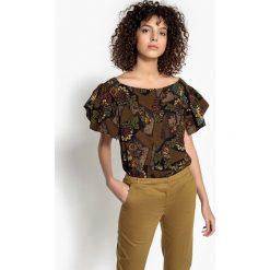 Bluzki asymetryczne: Bluzka z etnicznym nadrukiem, krótki rękaw