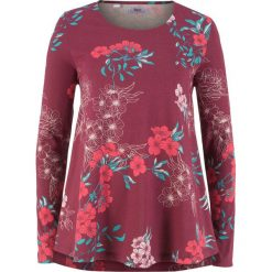 Tunika bawełniana shirtowa, długi rękaw bonprix czerwony rododendron z nadrukiem. Fioletowe tuniki damskie z długim rękawem bonprix, z nadrukiem, z bawełny. Za 37,99 zł.