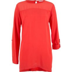 Bluzki, topy, tuniki: Tunika bluzkowa z asymetrycznym dołem, długi rękaw bonprix czerwony sygnałowy