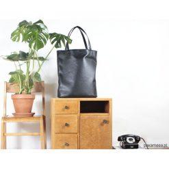 Shopper bag damskie: Mega shopper torba czarna na zamek