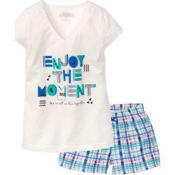 Piżamy damskie: Piżama z krótkimi spodenkami bonprix biel wełny z nadrukiem