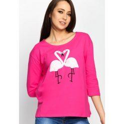 Fuksjowa Bluzka Flaming Love. Różowe bluzki longsleeves marki Born2be, m. Za 39,99 zł.