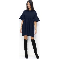 Granatowa Sukienka Trapezowa z Falbankami na Rękawach. Niebieskie sukienki dresowe Molly.pl, na co dzień, l, w jednolite wzory, z falbankami, z krótkim rękawem, mini, trapezowe. Za 119,90 zł.