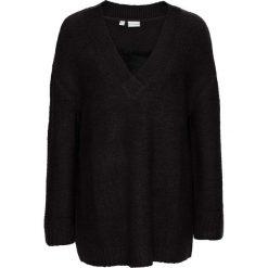 Swetry klasyczne damskie: Sweter dzianinowy z koronką bonprix czarny