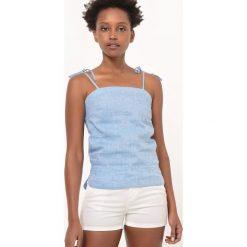 Bielizna damska: Podkoszulek z lnu na cienkich wiązanych ramiączkach