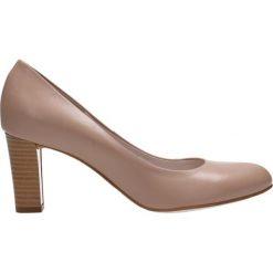 Czółenka FRIDA. Brązowe buty ślubne damskie Gino Rossi, ze skóry, na słupku. Za 249,90 zł.