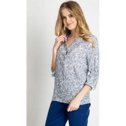 Bluzki damskie: Biała bluzka w drobny wzór QUIOSQUE
