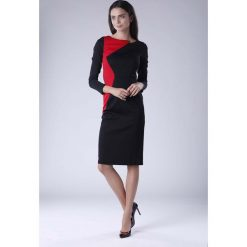 Czarno Czerwona Wizytowa Sukienka z  Kontrastowym Panelem. Czarne długie sukienki marki Molly.pl, na co dzień, l, casualowe, z asymetrycznym kołnierzem, z długim rękawem, asymetryczne. W wyprzedaży za 120,81 zł.