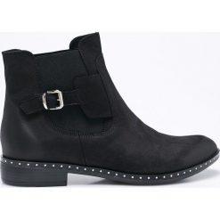 Carinii - Botki. Czarne buty zimowe damskie Carinii, z materiału, z okrągłym noskiem. W wyprzedaży za 199,90 zł.