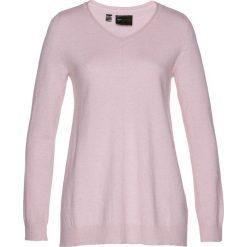 Swetry klasyczne damskie: Sweter Premium bonprix matowy jasnoróżowy