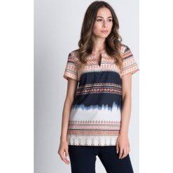 Bluzki asymetryczne: Bawełniana bluzka we wzory z krótkim rękawem BIALCON