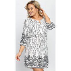 Sukienki hiszpanki: Biało-Czarna Sukienka Seaside Walk