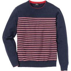 Swetry męskie: Sweter w paski Regular Fit bonprix ciemnoniebieski w paski