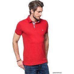 KOSZULKA POLO czerwona z wykończeniem w kratę. Czerwone koszulki polo Pakamera, m, z bawełny. Za 149,00 zł.