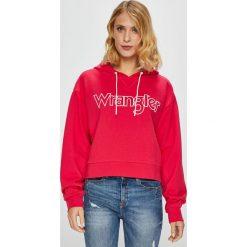 Wrangler - Bluza. Szare bluzy z kapturem damskie marki Wrangler, na co dzień, m, z nadrukiem, casualowe, z okrągłym kołnierzem, mini, proste. Za 219,90 zł.