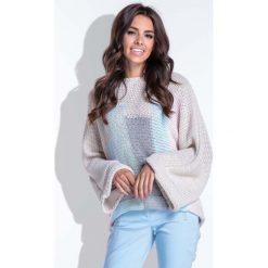 Swetry damskie: Wielokolorowy Beżowy Nietoperzowy Sweter