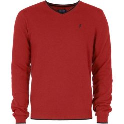 Sweter męski. Czerwone swetry klasyczne męskie Ochnik, na jesień, m, z poliamidu, z kontrastowym kołnierzykiem. Za 149,90 zł.