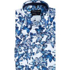 Koszula SIMONE KDWS000393. Niebieskie koszule męskie na spinki Giacomo Conti, m, z nadrukiem, z bawełny, z włoskim kołnierzykiem. Za 199,00 zł.