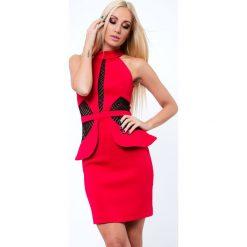 Sukienki: Sukienka z baskinką czerwona G5154