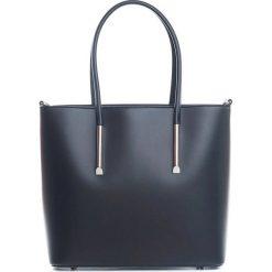 Shopper bag damskie: Skórzana torebka w kolorze czarnym – 30 x 12 x 32 cm