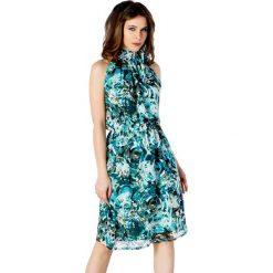 Sukienki balowe: Sukienka w kolorze zielono-brązowym ze wzorem