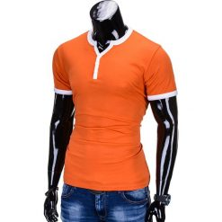 T-SHIRT MĘSKI BEZ NADRUKU S651 - POMARAŃCZOWY. Brązowe t-shirty męskie z nadrukiem marki Ombre Clothing, m. Za 29,00 zł.